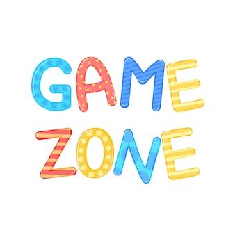 子供の言葉ゲームゾーンホワイトバックグラウンドベクトルグラフィック