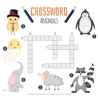 Векторный цветной кроссворд, обучающая игра для детей о животных