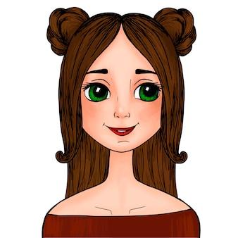 Красивая мультипликационная девушка с зелеными глазами с мордочками на голове