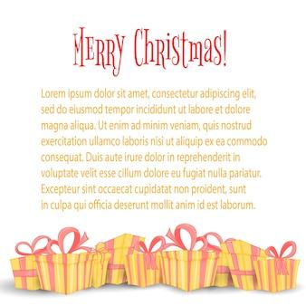 カードにクリスマスプレゼント付きのバナー