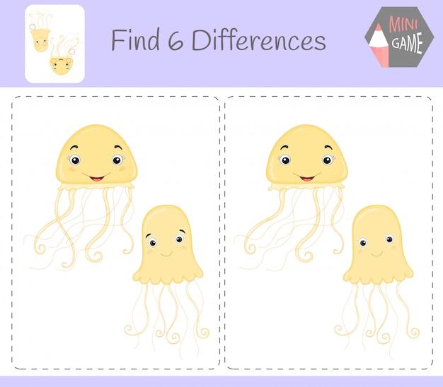 違いを見つける、子供のための教育ゲーム。クラゲ。農場の動物