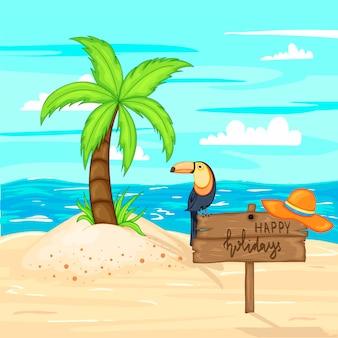 Летом деревянный знак с местом для текста на фоне моря и песка.