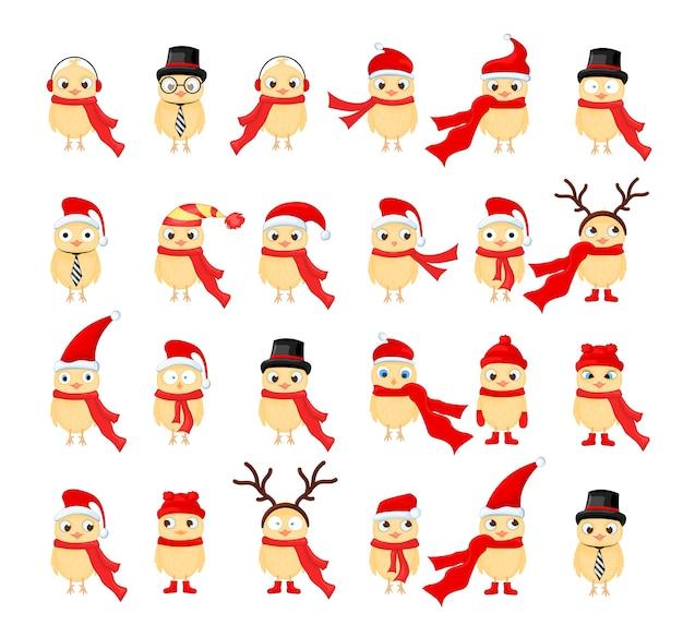 Векторный набор рождественских совов