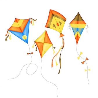 分離された漫画のスタイルでさまざまな色の凧セット