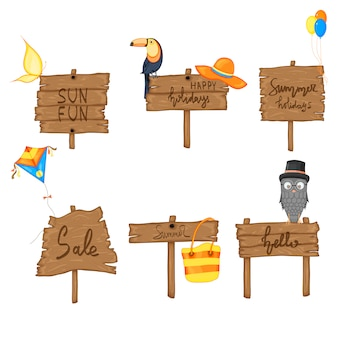 Установите лето деревянный знак с пространством для текста. векторная иллюстрация