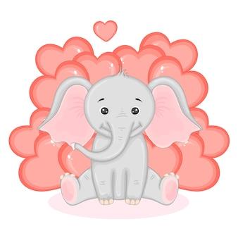 かわいいバレンタイン動物。