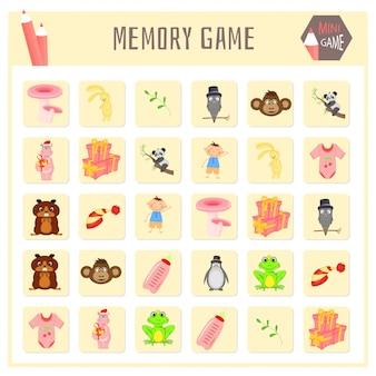 Игра на память для детей, карты животных векторная графика