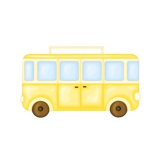 かわいい漫画のスタイルで旅行するバス。分離したベクトル図