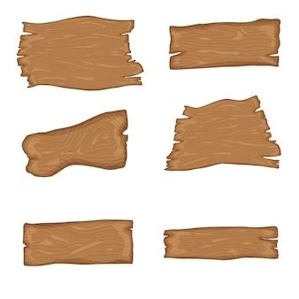 看板セット。さまざまな形や大きさの木の板。
