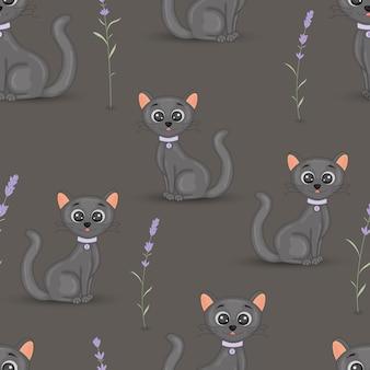 ラベンダーの襟カラフルなシームレスパターンを持つかわいい猫。布、ノートブック、ノートブックのための漫画のベクトルの壁紙。