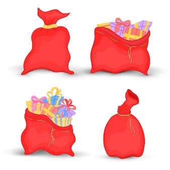 セットバッグサンタクロースは子供のための弓と明るい贈り物でいっぱいです