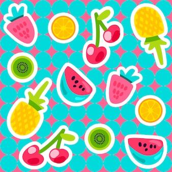 Вектор летние фрукты шаблон в мультяшном стиле