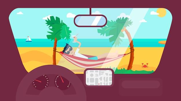 車での夏の旅行