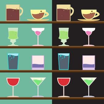 Векторный набор кубков, чашек, стекла