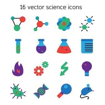 サイエンスセットのアイコン。実験室の生物学のシンボル。