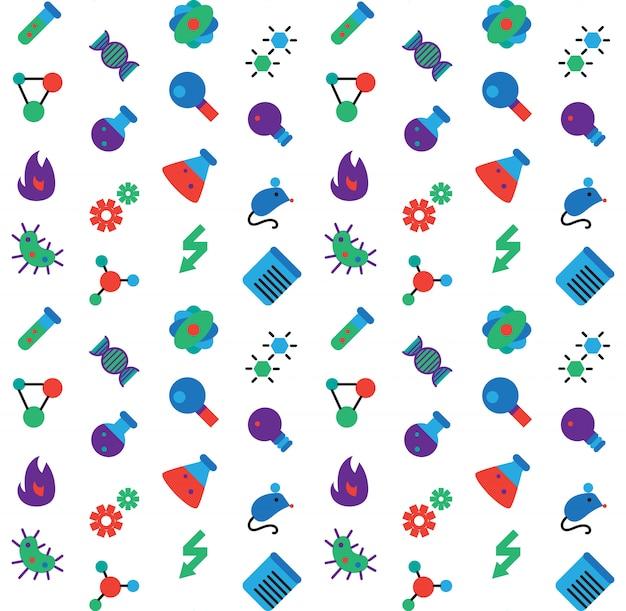 サイエンスアイコンシームレスなパターン。実験室の生物学のシンボル。