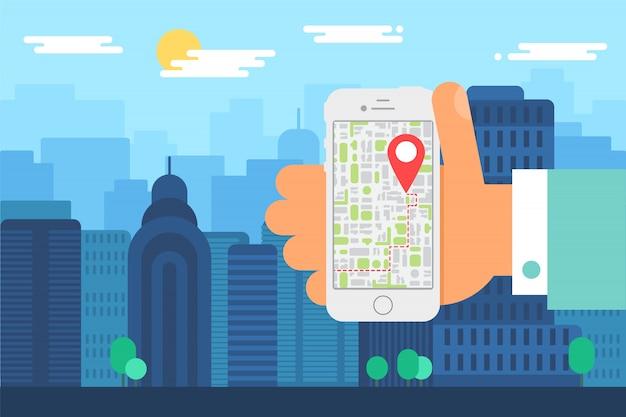 モバイルシティナビゲーション。毎日の街、地図アプリと電話で人間の手のイラスト。マップポインターとスマートフォンの画面。ベクター
