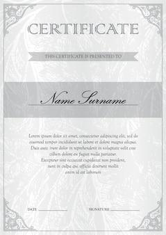 Вертикальный белый серебряный сертификат и образец диплома. бланк купонного вознаграждения.