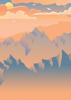 山の夕日ベクトルイラスト