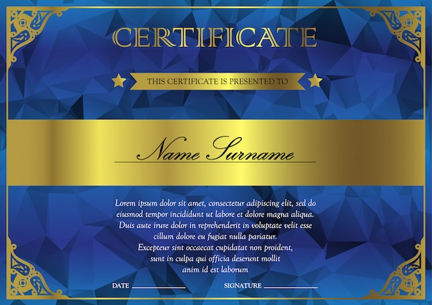 水平方向の青と金の証明書と達成のための勝者のためのヴィンテージ、花柄、繊細な卒業証書のテンプレート。賞クーポンの空白