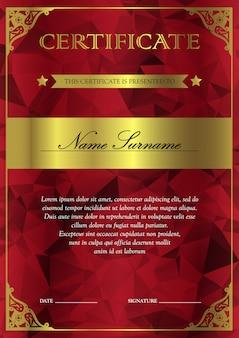 達成のための勝者のためのヴィンテージ、花、繊細でかわいいパターンを持つ垂直の赤と金の証明書と卒業証書のテンプレート。賞クーポンの空白です。ベクター