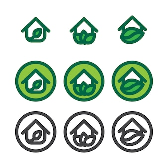エコハウステンプレートセット。エコロジーシンボル。自然のロゴタイプ。グリーンロゴ。