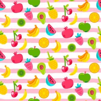 トロピカルフルーツ、ベリーのシームレスパターン