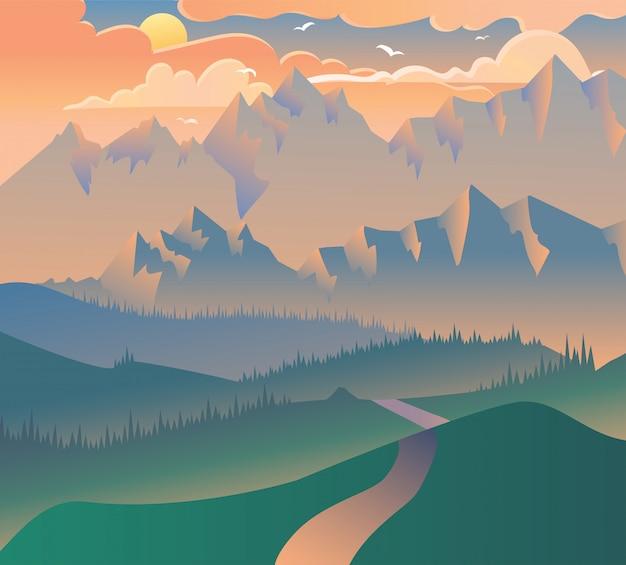 Утренний пейзаж природа лесной кемпинг иллюстрация