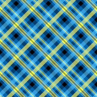 タータンブルー色のシームレスパターン