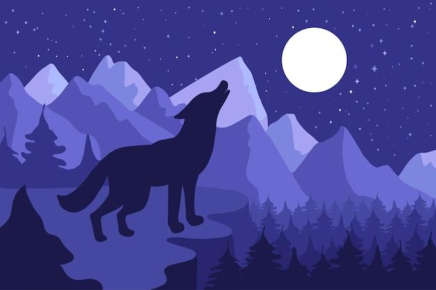 丘の中腹にハウリング野生のオオカミ