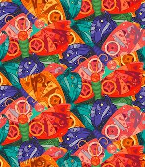 パタパタスタイルのファンタスティックな蝶のシームレスなパターン。