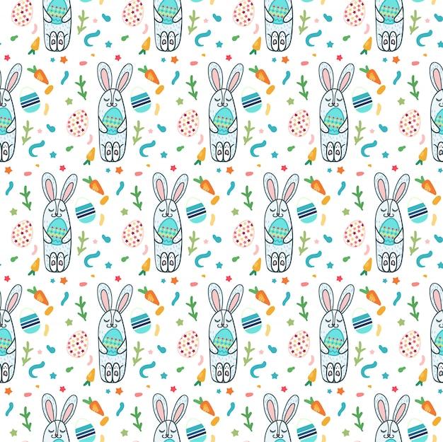 かわいいウサギと卵とハッピーイースターシームレスパターン