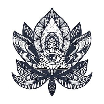 Татуировка глаз на лотосе