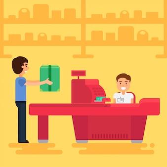 Человек покупает в супермаркете