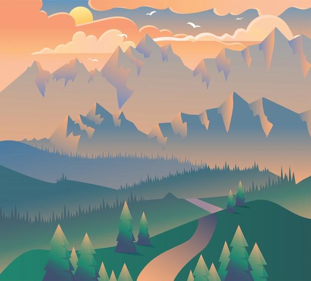 Утренний пейзаж природа лес кемпинг фон
