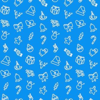 青のメリークリスマスパターン