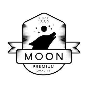 Шаблон логотипа контур луны