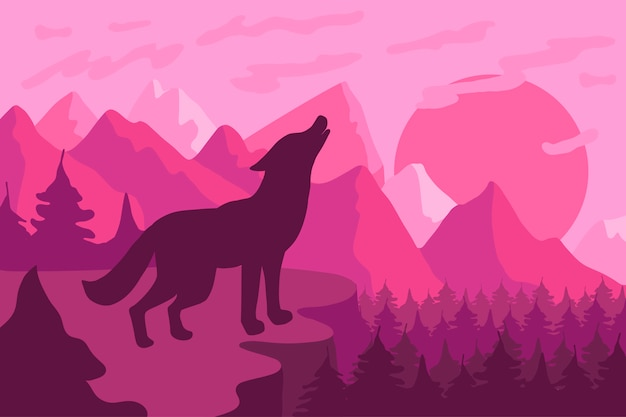 オオカミフラットベクトルイラストと森林景観