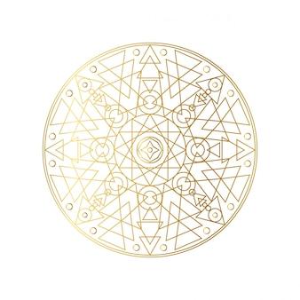 黄金の抽象的な幾何学的なマンダラの概要図