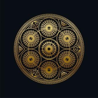 黄金インクの幾何学的なマンダラ線形