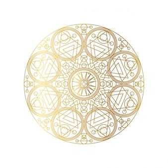 黄金の抽象的な幾何学的なマンダラの概要
