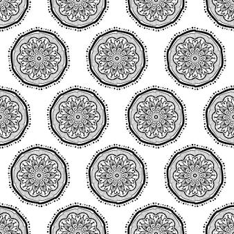 手描きのマンダラシームレスパターン。アラビア語、インド語、トルコ語、オスマン文化の飾り