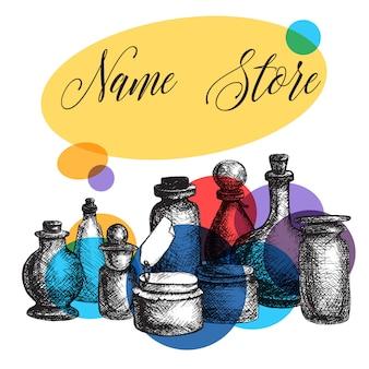 手描きの孤立したヴィンテージガラスの瓶とボトルセット