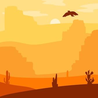 レトロな野生の西の砂漠。プレーリーのヴィンテージの夕焼け
