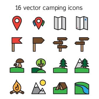 キャンプ旅行と自然のアイコンのセット