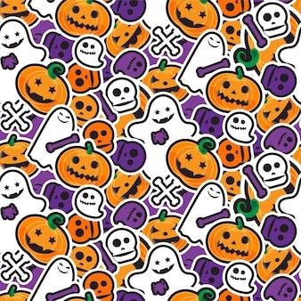 Счастливый хэллоуин бесшовные шаблон. страшный и ужасный фон
