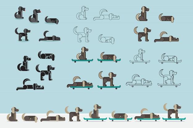スケートボードの犬。子犬セット。獣医のシンボルです。配達のアイコン。ベクトルイラスト