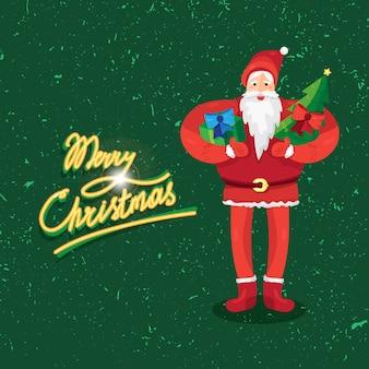 サンタクロースまたは父フロストとギフトとモミの手でメリークリスマスの挨拶ベクター