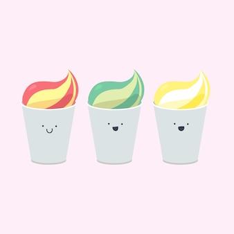 感情的なアイスクリームのベクトルを設定