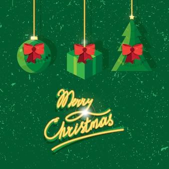 グリーティングカードのメリークリスマステキストの手書きのレタリング